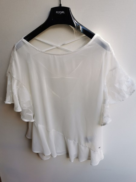 Flygirl Bluse mit Flatterärmel und tiefem Rückendekollté