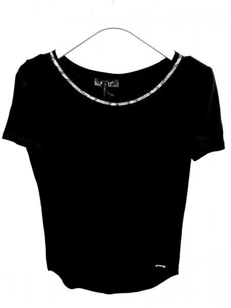 Exsy kurzarm T-Shirt mit Glitzerrand