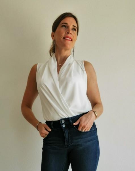 Fornarina ärmellos ausgeschnittener Body weiß