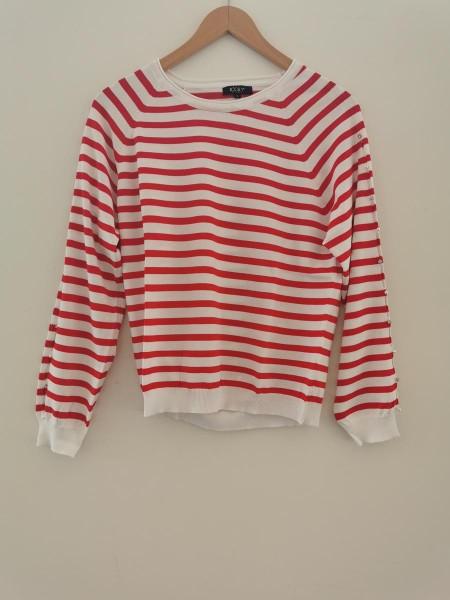 Pullover gestreift raffinierte Öffnungen Oberarm - rot/weiß