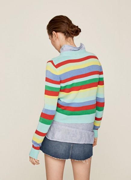 """Pullover """"Noa"""" mit bunten Streifen und Rundkragen aus mittleren Strick"""