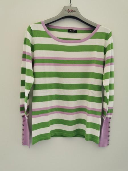 Pullover gestreift - weiß/grün/lila