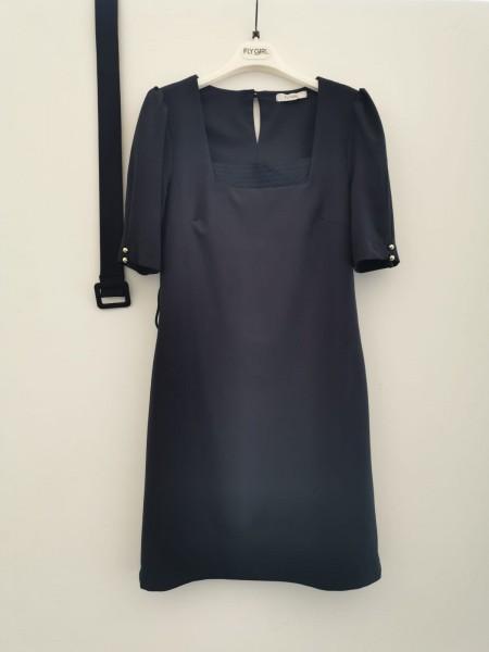 Gürtelkleid mit eckigem Ausschnitt - dunkelblau