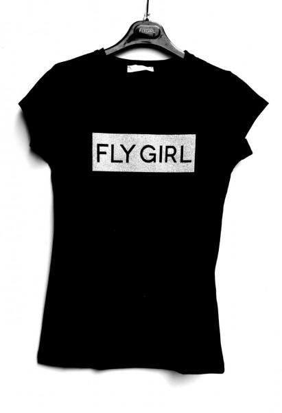 Flygirl T-Shirt mit Glitzer und Logo