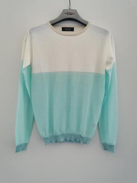 Pullover zweifarbig - cream/mint