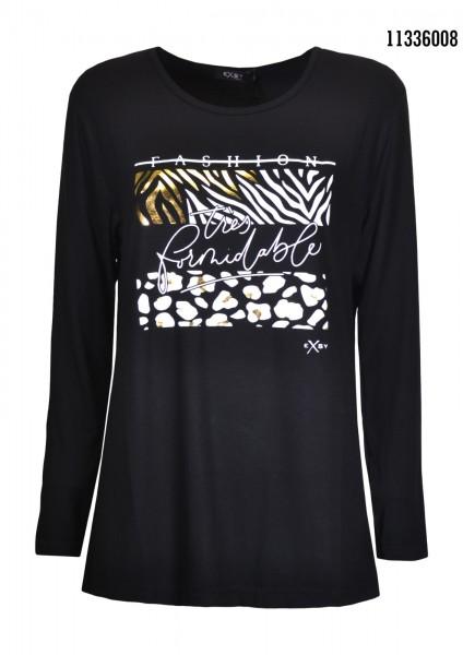 Exsy Langarm Shirt mit Glitzer Aufdruck