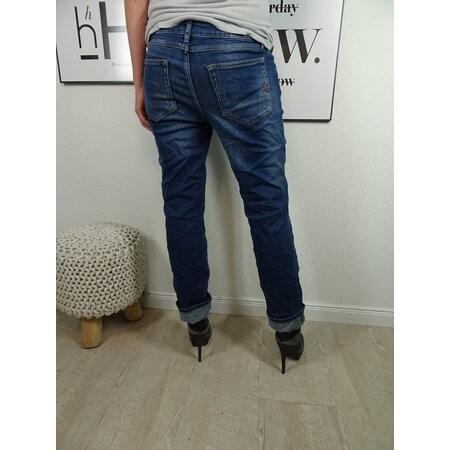 Buena Vista Boyfriend Jeans mit geradem Bein mid destroy