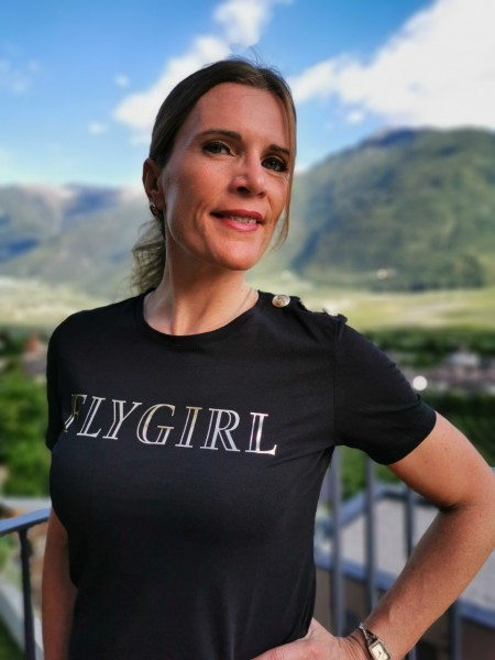 Flygirl T-Shirt Rundausschnitt mit Logo in Gold